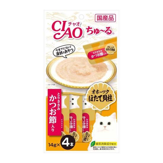 CIAO Cat Treat Churu Chicken Fillet Scallop & Sliced Bonito 14g