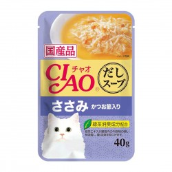 CIAO Cat Treat Clear Soup Pouch Chicken Fillet Topping Dried Bonito 40g