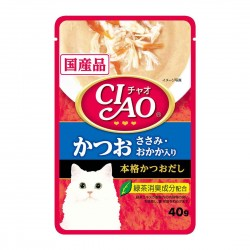 CIAO Cat Treat Creamy Soup Pouch Tuna Katsuo & Chicken Fillet Topping Dried Bonito 40g