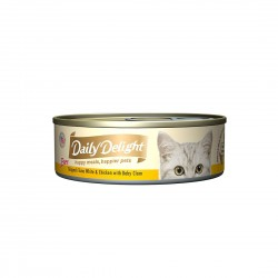Daily Delight Cat Food Pure Skipjack Tuna White & Chicken with Baby Clam 80g