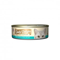Daily Delight Cat Food Pure Skipjack Tuna White & Chicken with Baby Squid 80g