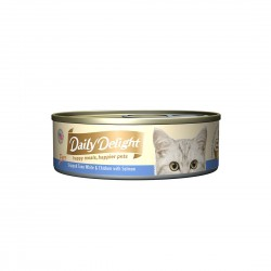 *Cats of Marine Terrace* Daily Delight Cat Food Pure Skipjack Tuna White & Chicken with Salmon 80g (24 cans)