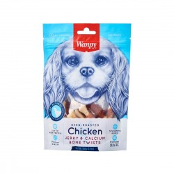 Wanpy Dog Treat Oven Roasted Chicken Jerky & Calcium Bone Twist 100g
