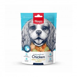 Wanpy Dog Treat Oven Roasted Chicken Jerky & Biscuit Twist 100g