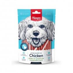 Wanpy Dog Treat Oven Roasted Chicken Jerky & Codfish Sandwich 100g