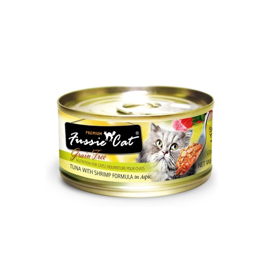 Fussie Cat Canned Food Premium Tuna with Shrimp in Aspic 80g