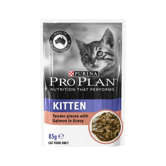 Purina Pro Plan Cat Food Tender Pieces with Salmon in Gravy for Kitten 85g