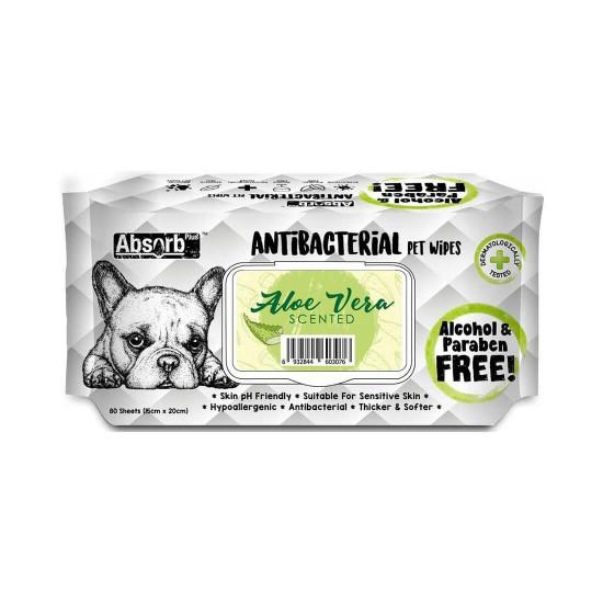 Absorb Plus Antibacterial Pet Wipes Aloe Vera