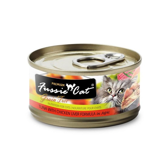 Fussie Cat Canned Food Premium Tuna with Chicken Liver in Aspic 80g
