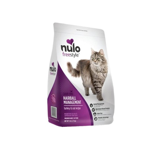 Nulo Freestyle Cat Food Grain Free Hairball Management Turkey and Cod Recipe 12lb