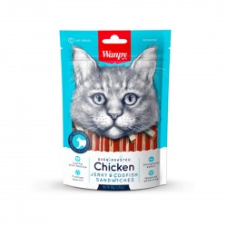 Wanpy Cat Treat Oven Roasted Chicken Jerky & Codfish Sandwich 80g