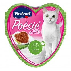 Vitakraft Cat Food Poesie Hearts Chicken & Cat Grass in Jelly Tray 85g