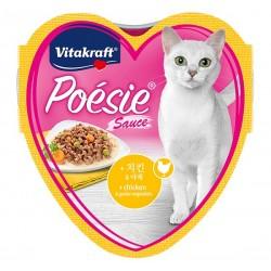 Vitakraft Cat Food Poesie Hearts Chicken & Garden Vegetables in Sauce Tray 85g