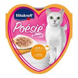 Vitakraft Cat Food Poesie Hearts Turkey in Cheese Sauce Tray 85g