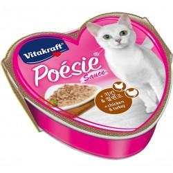 Vitakraft Cat Food Poesie Hearts Chicken & Turkey in Sauce Tray 85g